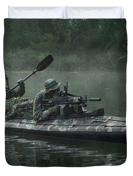 Navy Seals Navigate The Waters Duvet Cover by Tom Weber