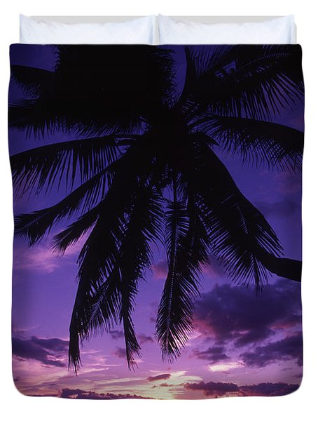 Palm Over The Beach Duvet Cover by Ron Dahlquist - Printscapes