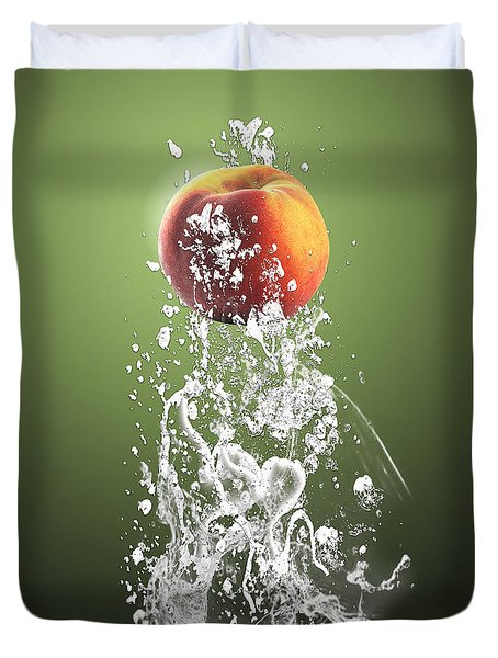 Peach Splash Duvet Cover by Marvin Blaine