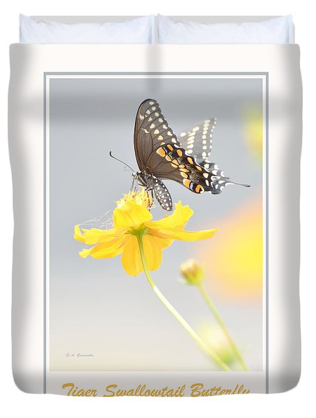 Duvet Cover featuring the photograph Tiger Swallowtail Butterfly On Cosmos Flower by A Gurmankin