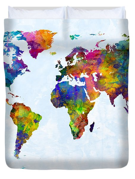 Watercolor Map Of The World Map Duvet Cover by Michael Tompsett