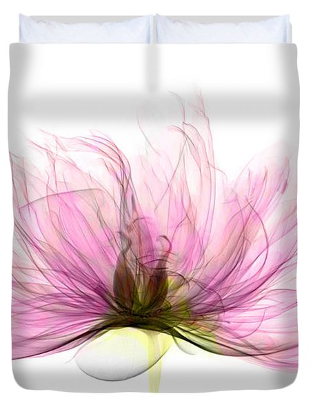 X-ray Of Peony Flower Duvet Cover by Ted Kinsman