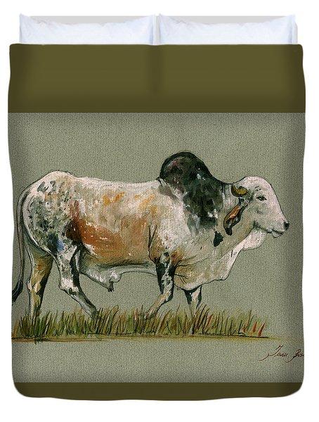 Zebu Cattle Art Painting Duvet Cover by Juan  Bosco