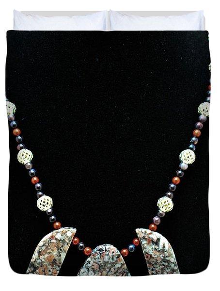 3521 Crinoid Fossil Jasper Necklace Duvet Cover by Teresa Mucha