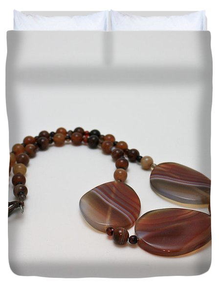 3543 Coffee Vein Agate Necklace Duvet Cover by Teresa Mucha