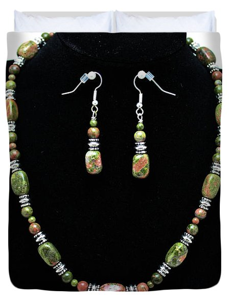 3565 Unakite Necklace And Earrings Set Duvet Cover by Teresa Mucha