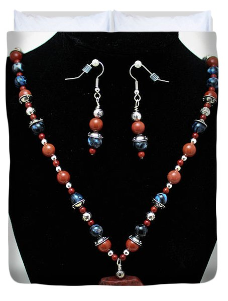 3578 Jasper And Agate Long Necklace And Earrings Set Duvet Cover by Teresa Mucha