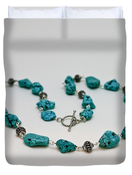 3599 Turquoise Necklace Duvet Cover by Teresa Mucha