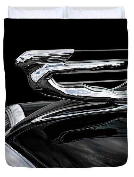 37 Cadillac Hood Angel Duvet Cover by Douglas Pittman