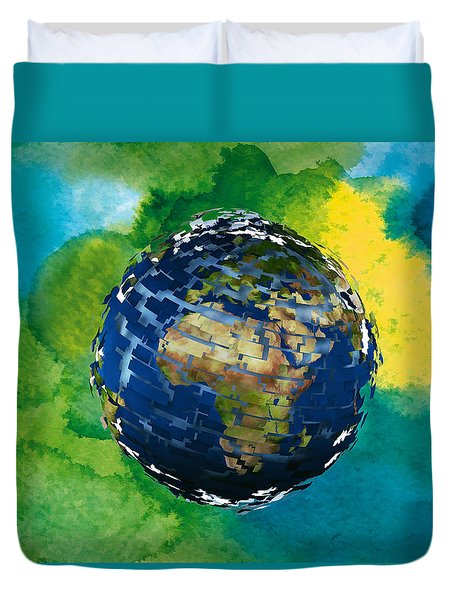 3d Render Of Planet Earth 14 Duvet Cover by Lanjee Chee