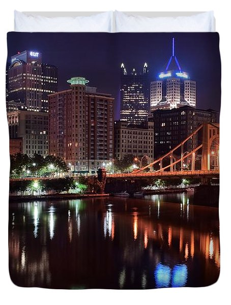 A Pittsburgh Night Duvet Cover by Frozen in Time Fine Art Photography