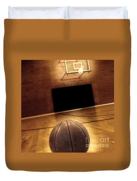 Basketball and Basketball Court Duvet Cover by Lane Erickson