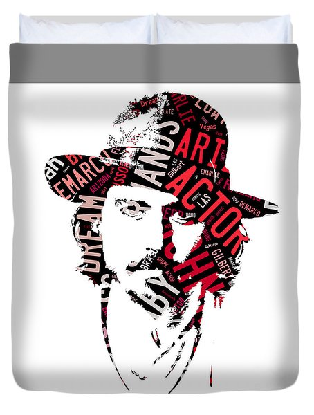 Johnny Depp Movie Titles Duvet Cover by Marvin Blaine