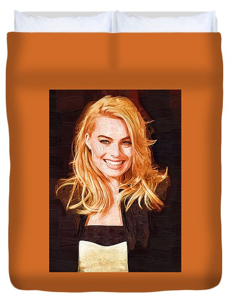 Margot Robbie Painting Duvet Cover by Best Actors