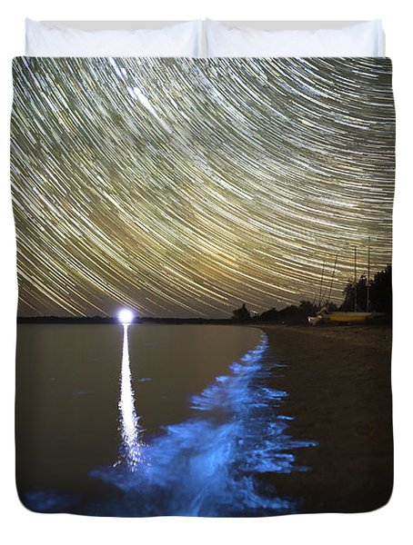 Star Trails And Bioluminescence Duvet Cover by Philip Hart