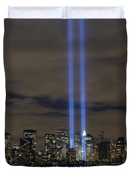 The Tribute In Light Memorial Duvet Cover by Stocktrek Images