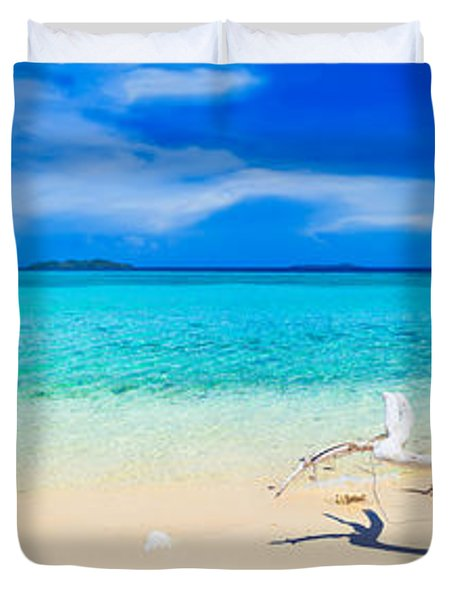 Tropical beach Malcapuya Duvet Cover by MotHaiBaPhoto Prints