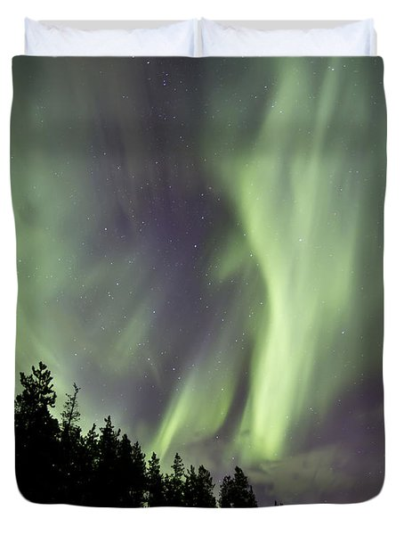 Aurora Borealis Over Trees, Yukon Duvet Cover by Jonathan Tucker