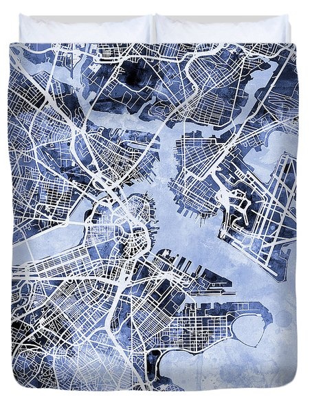 Boston Massachusetts Street Map Duvet Cover by Michael Tompsett