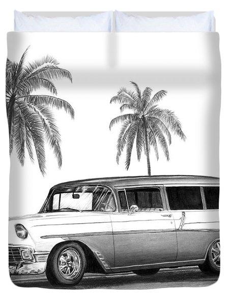 56 Chevy Wagon Duvet Cover by Peter Piatt