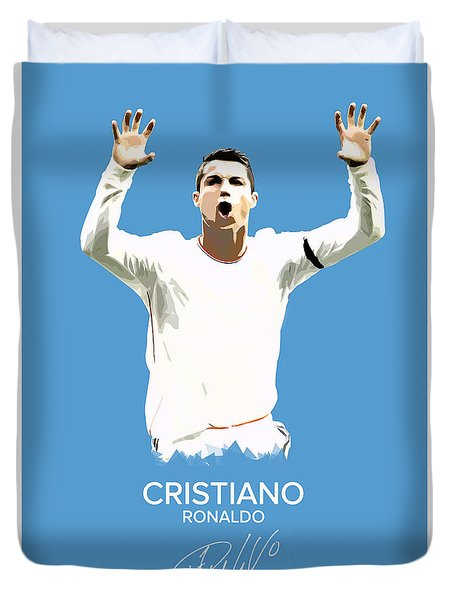 Cristiano Ronaldo Duvet Cover by Semih Yurdabak