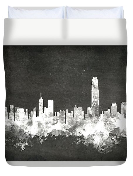 Hong Kong Skyline Duvet Cover by Michael Tompsett