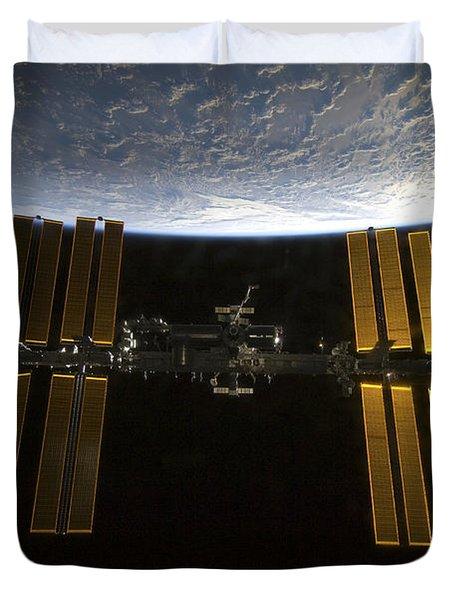 International Space Station Duvet Cover by Stocktrek Images