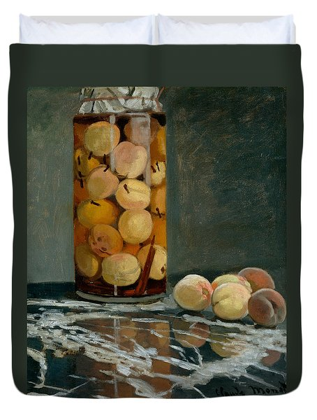 Jar Of Peaches Duvet Cover by Claude Monet