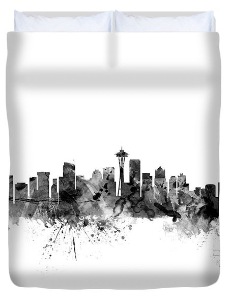 Seattle Washington Skyline Duvet Cover by Michael Tompsett