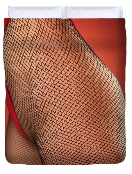 Sexy Young Woman In High Cut Swimsuit Duvet Cover by Oleksiy Maksymenko