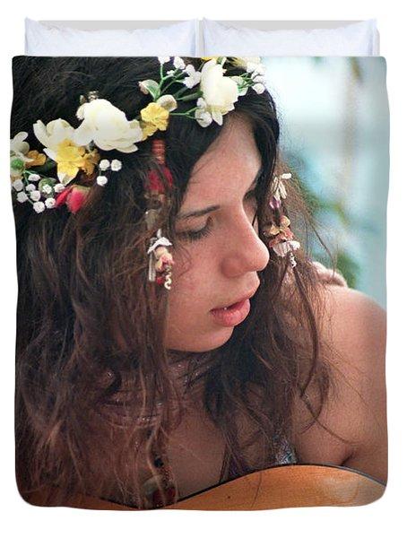 60's Flower Girl Duvet Cover by Ilan Rosen