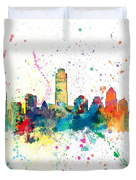 Austin Texas Skyline Duvet Cover by Michael Tompsett