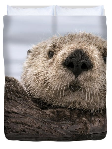 Sea Otter Elkhorn Slough Monterey Bay Duvet Cover by Sebastian Kennerknecht