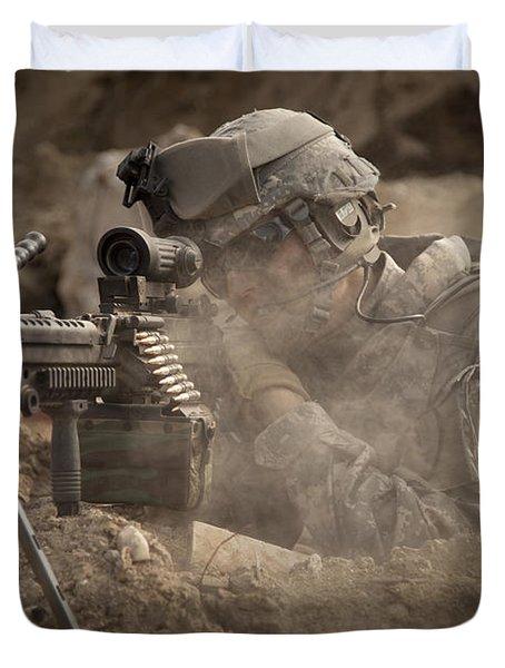 U.s. Army Ranger In Afghanistan Combat Duvet Cover by Tom Weber