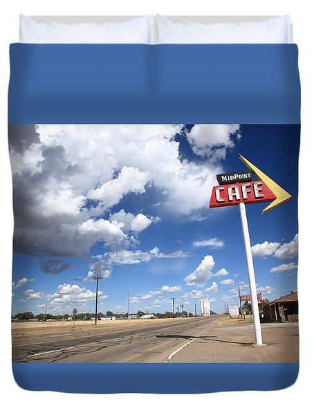 Route 66 Cafe Duvet Cover by Frank Romeo