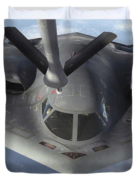 A B-2 Spirit Bomber Prepares To Refuel Duvet Cover by Stocktrek Images