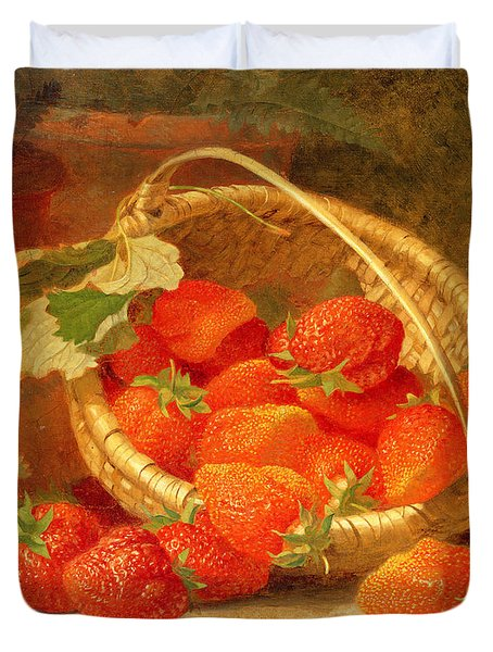 A Basket Of Strawberries On A Stone Ledge Duvet Cover by Eloise Harriet Stannard