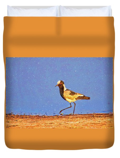 A Black-wing Lapwing With Art Duvet Cover by Kay Brewer