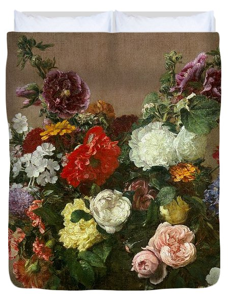 A Bouquet Of Mixed Flowers Duvet Cover by Ignace Henri Jean Fantin-Latour
