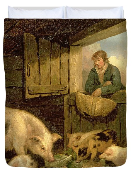 A Boy Looking Into A Pig Sty Duvet Cover by George Morland