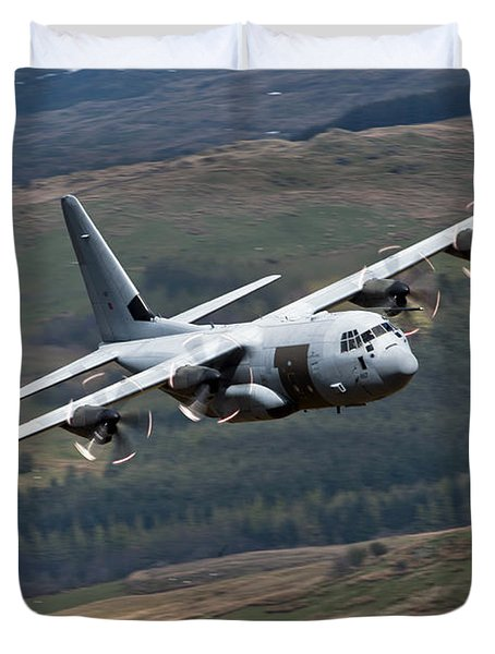 A C-130 Hercules Of The Royal Air Force Duvet Cover by Andrew Chittock