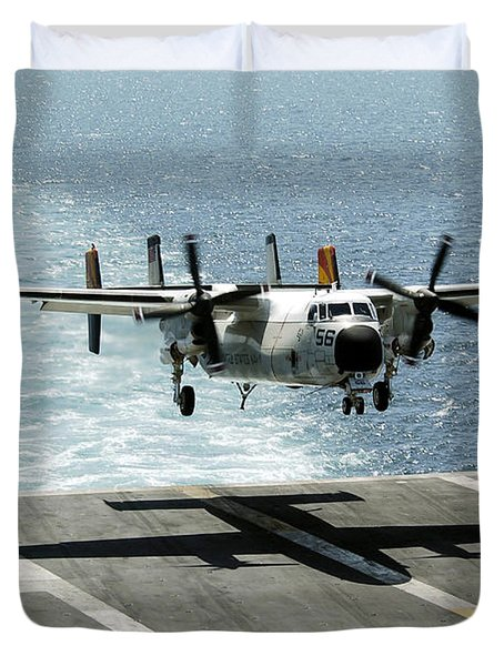 A C-2a Greyhound Prepares To Land Duvet Cover by Stocktrek Images