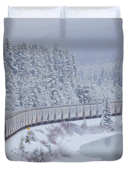 A Canadian Pacific Train Travels Along Duvet Cover by Chris Bolin