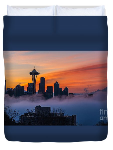 A City Emerges Duvet Cover by Mike Reid