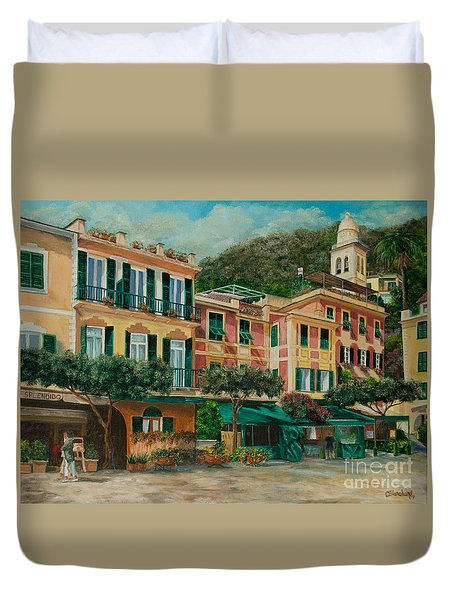 A Day in Portofino Duvet Cover by Charlotte Blanchard