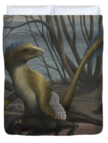 A Deinonychus Protects Its Kill Duvet Cover by Emily Willoughby
