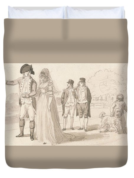A Family In Hyde Park Duvet Cover by Paul Sandby