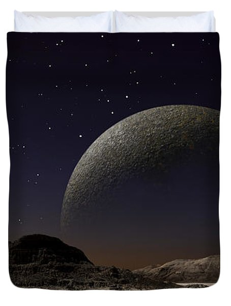 A Futuristic Space Scene Inspired Duvet Cover by Frank Hettick