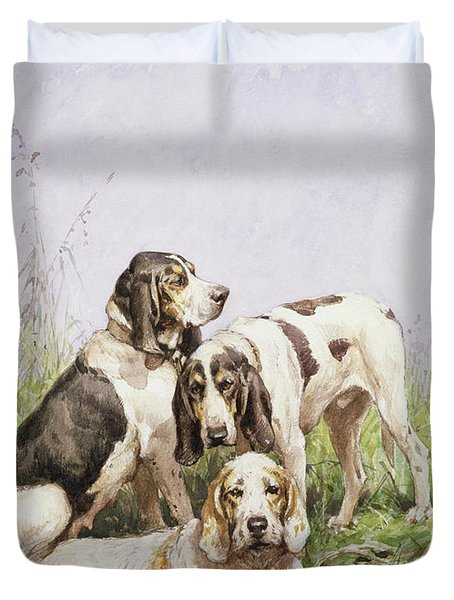 A Group Of French Hounds Duvet Cover by Charles Oliver de Penne