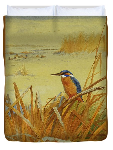 A Kingfisher Amongst Reeds In Winter Duvet Cover by Archibald Thorburn